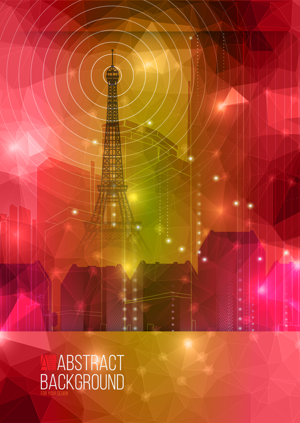 TV Tower with abstract background vector