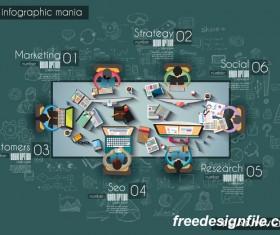 Teamwork ideas infographic template vector material 07