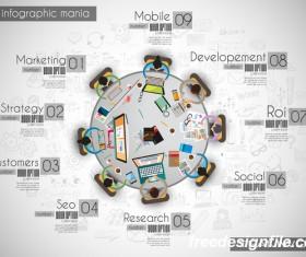 Teamwork ideas infographic template vector material 15