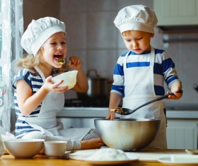 The children in the kitchen Stock Photo