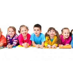 The children lying on the floor Stock Photo