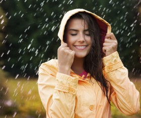 The girl in the rain Stock Photo