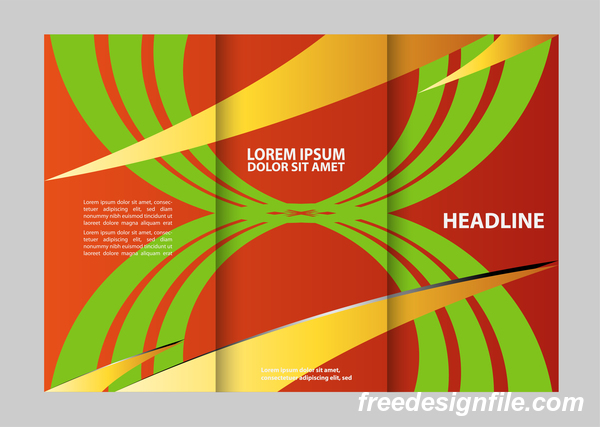 Three fold flyer and brochure cover red green vector 01