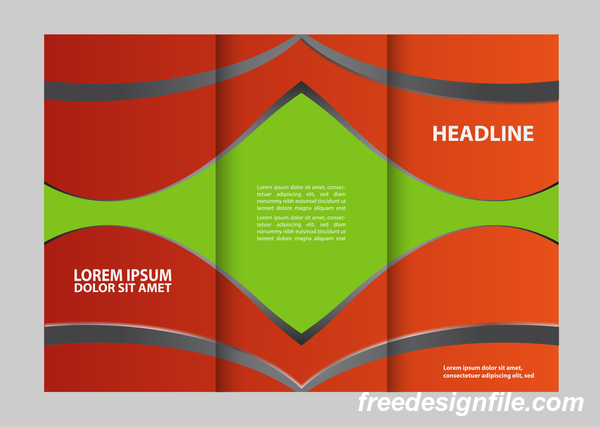 Three fold flyer and brochure cover red green vector 02
