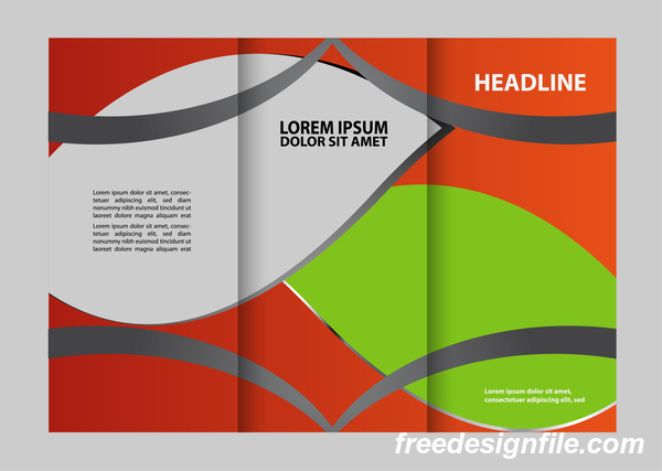 Three fold flyer and brochure cover red green vector 03