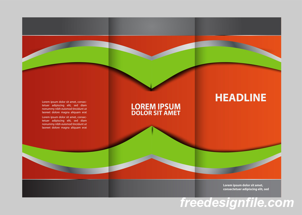 Three fold flyer and brochure cover red green vector 04