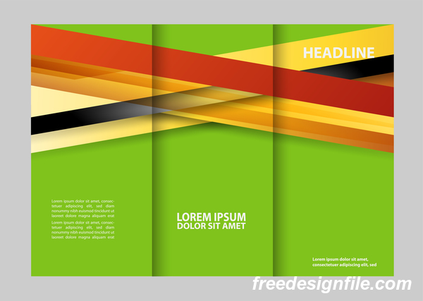 Three fold flyer and brochure cover red green vector 05