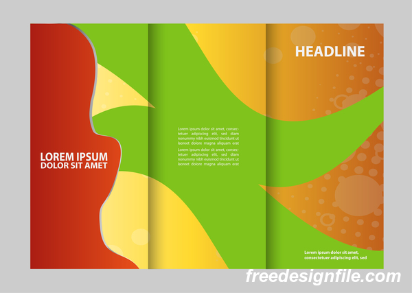 Three fold flyer and brochure cover red green vector 06