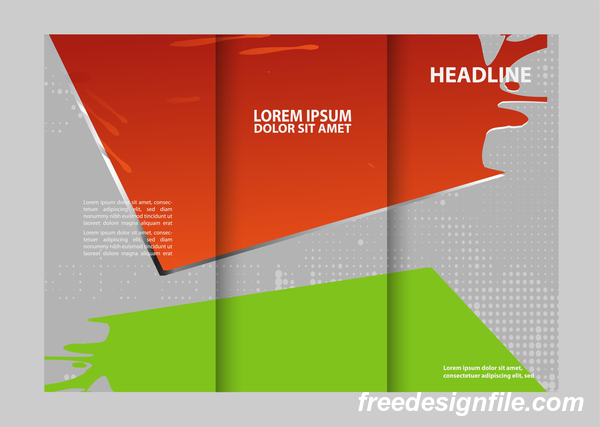 Three fold flyer and brochure cover red green vector 07