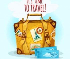 Tickets and suitcases vector