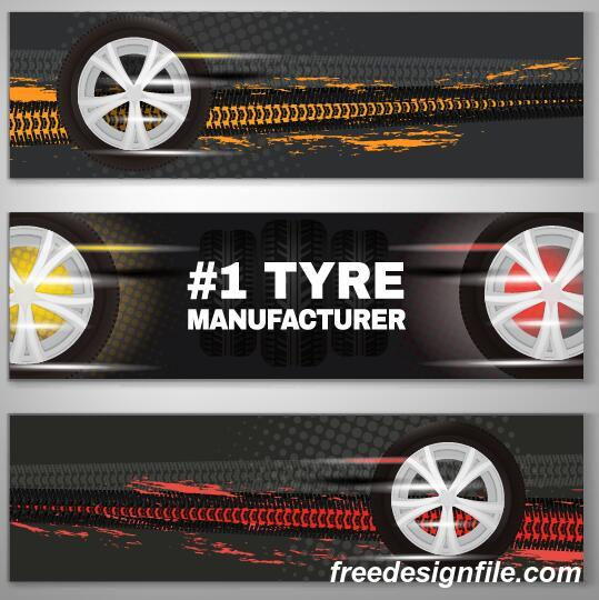Tire printed abstract banner vector
