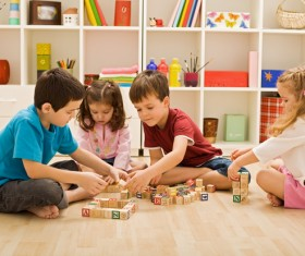 Together with children building blocks HD picture