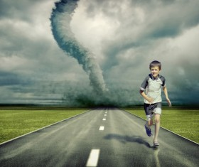 Tornado and boy Stock Photo