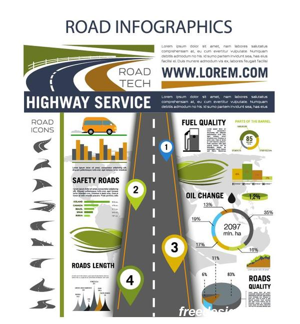 Traffic road infographic template vector 02