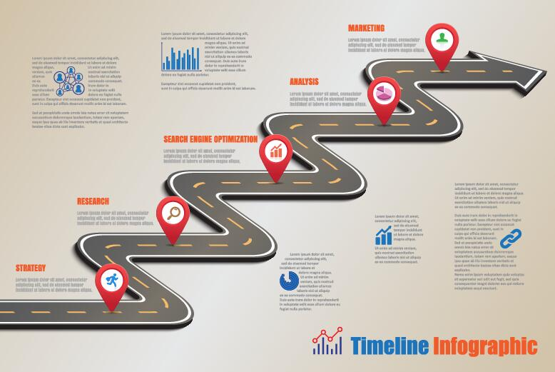 Traffic road infographic template vector 05