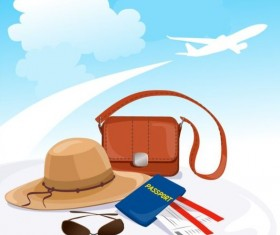 Travel background with aircraft vector