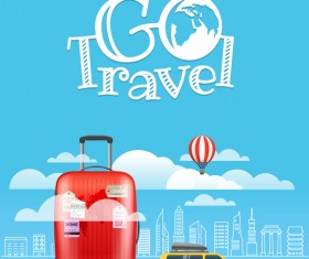 Travel elements with blue background vector