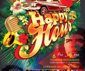 Tropical Cuban Happy Hour Flyer PSD Template