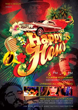 Tropical Cuban Happy Hour Flyer PSD Template