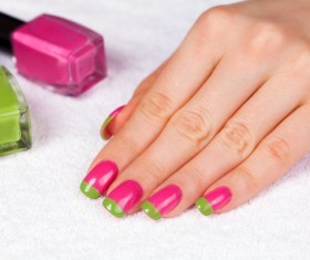 Two-color painted nail Stock Photo