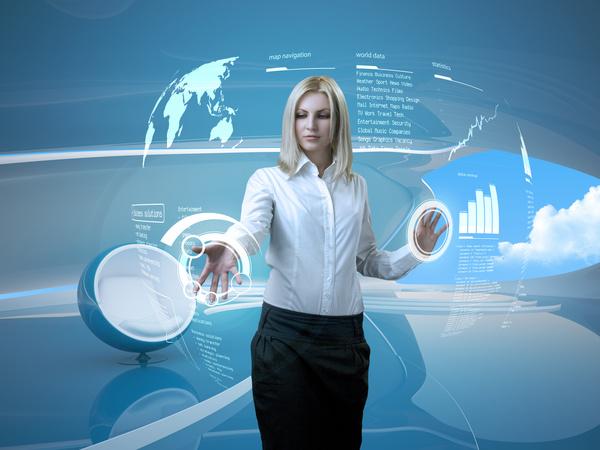 Use high tech women Stock Photo