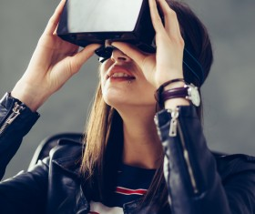 VR woman with glasses Stock Photo 02