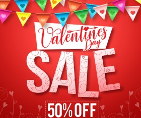 Valentine day sale discount background vector 01
