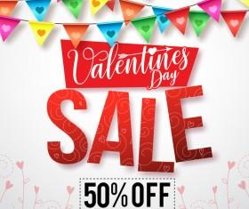 Valentine day sale discount background vector 02