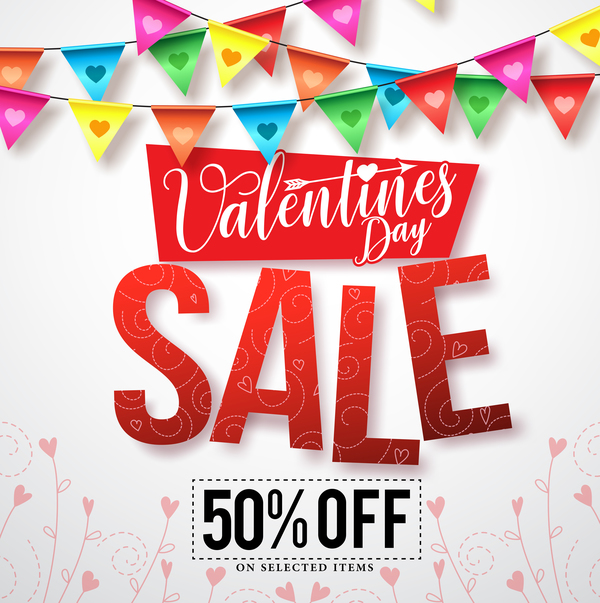 Valentine day sale discount background vector 02