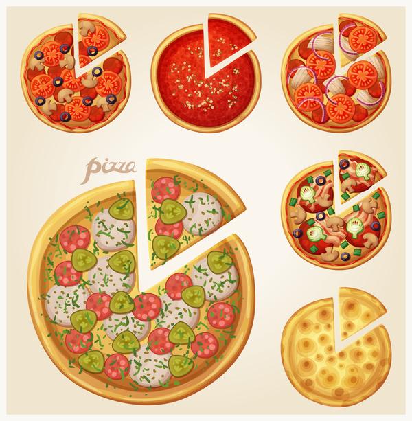 Vector pizza illustration set