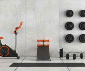 Vertical exercise car and barbell Stock Photo