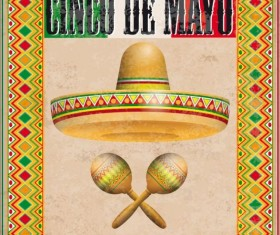 Vintage Cover Mexican Ornaments Sombrero Maracas Cinco De Mayo vector