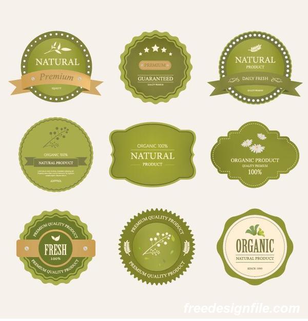 Vintage healthy food labels with badge design vector free