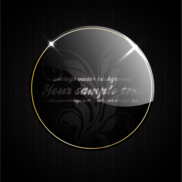 Vintage retro round glass frame with background vector