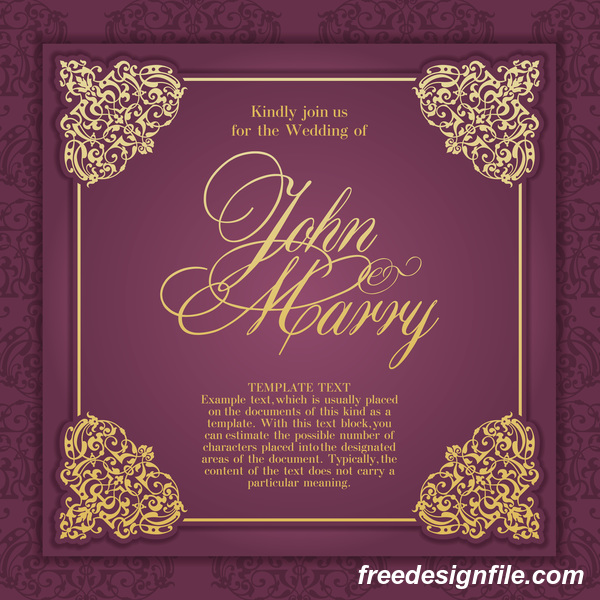 Vintege purple wedding card vector