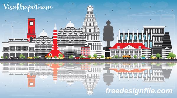 Visakhapatnam city landscape vectors