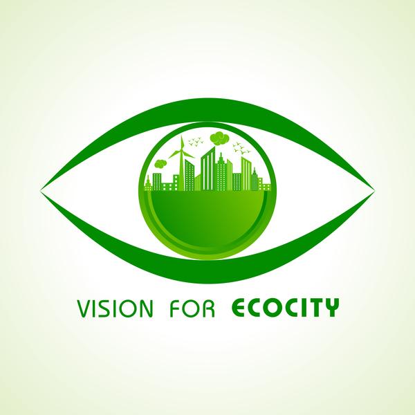 Vision for ecocity logo vector