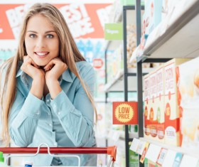 Visiting the supermarket lady Stock Photo