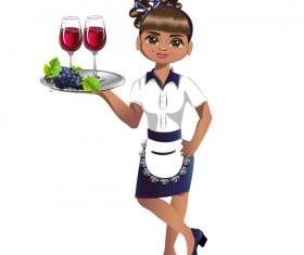 Waitress cartoon vector 01