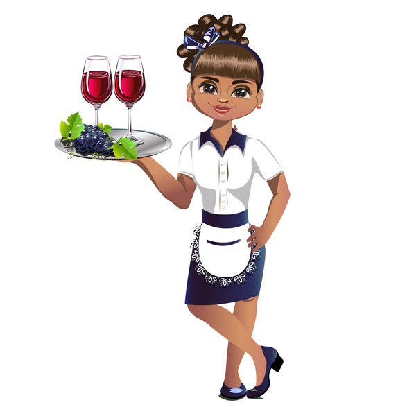 Waitress cartoon vector 01