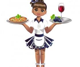 Waitress cartoon vector 02