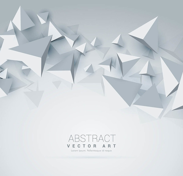 White background with 3D triangle vector 02
