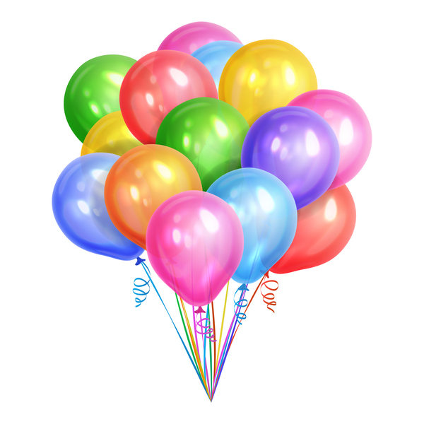 Bunch of realistic colorful helium balloons isolated on white ba