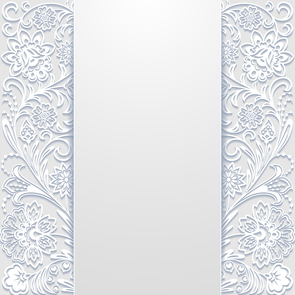 White hollow floral background vectors 01