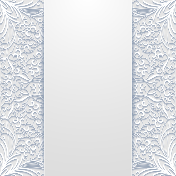 White hollow floral background vectors 03