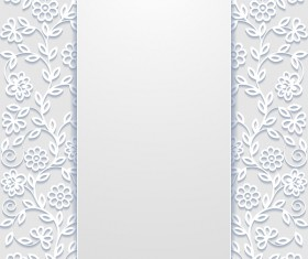 White hollow floral background vectors 04