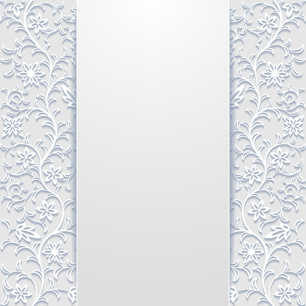 White hollow floral background vectors 05