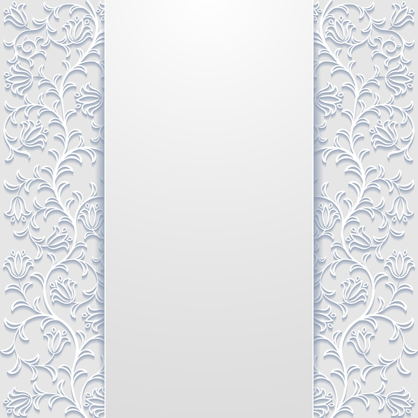 White hollow floral background vectors 06