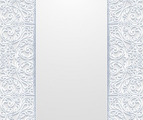 White hollow floral background vectors 07