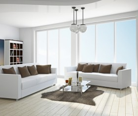 White living room with white sofa Stock Photo